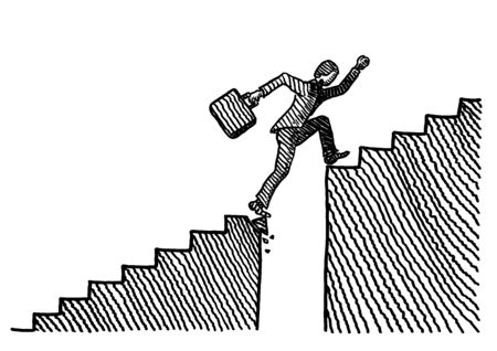 Hand drawn sketch of business man jumping with effort across a gap in stairway on his way up. Metaphor for race for success, overcoming obstacles, career challenge, problem solving, financial growth. 스톡 콘텐츠 - 131897434
