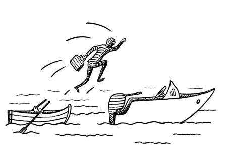 Hand drawn sketch of manager jumping from a rowing boat onto a motor boat. Metaphor for career move, change, seizing business opportunity, entrepreneurship, courage, future success, moving up. 写真素材