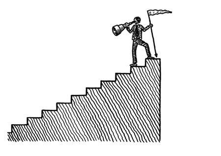 Freehand pen drawing of business man atop a staircase planting a summit flag and looking back downwards through a hand-held telescope. Metaphor for achievement, reflection, retrospection, hindsight.