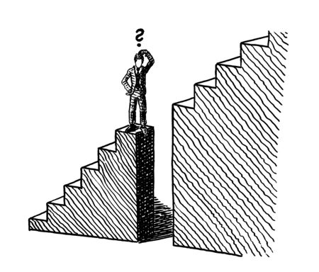 Freehand line art sketch of a business man standing at the verge of a deep gap in a stairway on his way up to success. Metaphor for overcoming adversity, career challenge, entrepreneurship, risk.