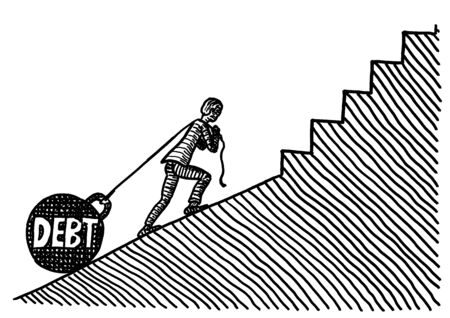Freehand pen drawing of a business man pulling DEBT in form of a huge kettle bell uphill a slope which turns into an even steeper staircase. Metaphor for economic hardship and increasing difficulty. Banco de Imagens - 133741525