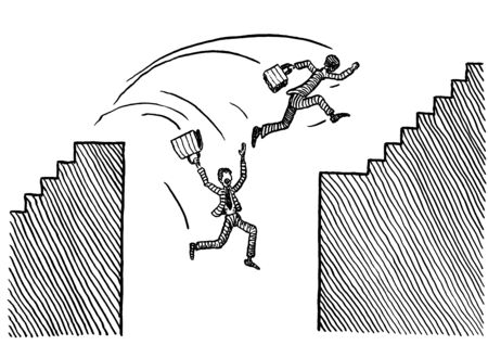 Freehand pen drawing of two competing business man jumping over abyss. One is succeeding, the other one plummeting into the precipice. Concept for entrepreneurship, competition, risk, career path. 스톡 콘텐츠 - 131896296