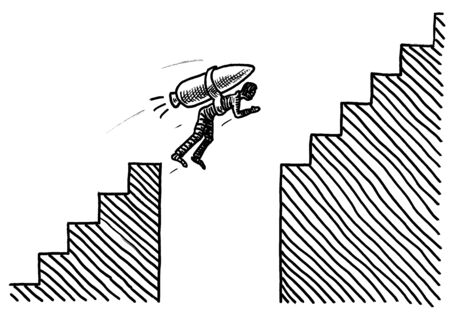 Freehand pen drawing of a man attached to a rocket overcoming a gap in a staircase. Business metaphor for career challenge, solution, determination, conquering adversity, corporate achievement. 스톡 콘텐츠 - 131897454