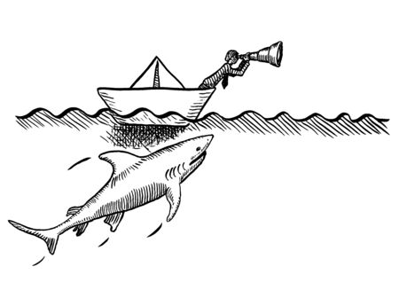 Freehand pen drawing of an entrepreneur leaning out of a paper boat to look out for opportunity through a spyglass, while a great shark is creeping up on him. Metaphor for entrepreneurship and risk.