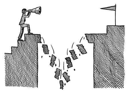 Dessin à la plume à main levée d'un homme visionnaire regardant un poteau de but à travers un télescope au-delà d'un pont qui s'effondre sur son chemin. Métaphore de la détermination, de la vision, de l'entrepreneuriat, du leadership, de la confiance, du risque. Banque d'images