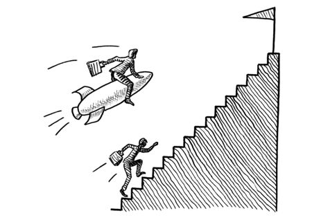 Freehand pen drawing of business man on rocket flying past a manager running upstairs towards the goal post. Metaphor for career challenge, competition, leadership, aspiration, growth accelerator.