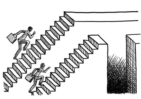 Freehand pen drawing of two man racing up two parallel flights of stairs, one ending in a plain platform, the other one featuring a deep chasm. Business metaphor for job competition, career path. 스톡 콘텐츠 - 131897517