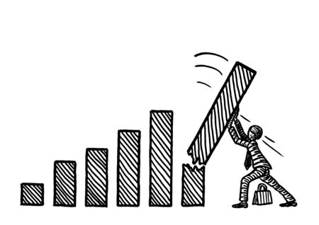Freehand pen drawing of business man propping up the tallest bar in a rising growth bar chart. Metaphor for forecasting, budgeting, planning, entrepreneurship, investment, banking, crisis management.
