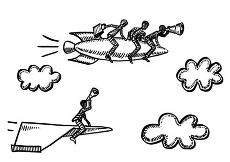 Freehand pen drawing of business man flying paper airplane spotting through spyglass team of three rivals surpassing him on rocket ship. Metaphor for competition, rivalry, teamwork, risk, vision.