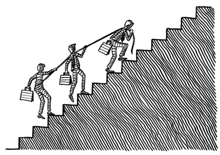 Freehand pen drawing of a business man pulling two teammates up a flight of stairs. Metaphor for leadership, teamwork, business partnership, work team, associates, co-workers, success, entrepreneur. Stok Fotoğraf