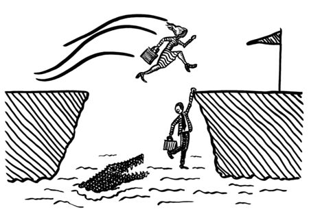 Freehand pen drawing of business woman jumping across crocodile ravine towards goal, while male rival is hanging on to edge of cliff. Metaphor for emancipation, gender equality, battle of the sexes. Foto de archivo - 133741539