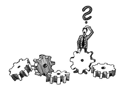 Freehand pen drawing of a business man facing the task of how to assemble five gear wheels. Metaphor for challenge, search for solution, query, problem solving, brainstorming, confusion, creativity.