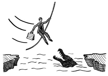 Freehand pen drawing of business man holding on to a rope while swinging across crocodile river. Metaphor for risk taking, entrepreneurship, courage, conquering adversity, work attitude, daring. Foto de archivo - 133741542