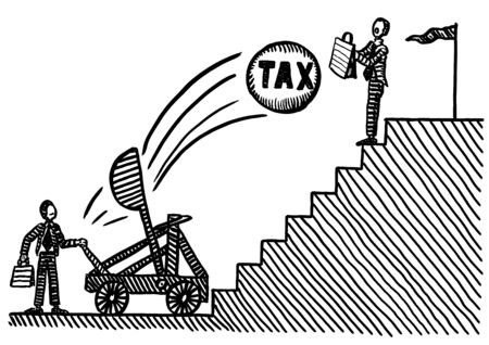 Freehand pen drawing of business man atop staircase using briefcase to protect himself against TAX cannon ball shot at him from catapult. Metaphor for career success, entrepreneurship, TAX exemption.