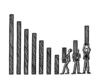 Freehand pen drawing of three business man coming to the rescue of a declining growth chart, lifting up the last three bars with their effort. Metaphor for teamwork, team effort, help, growth, goal. 스톡 콘텐츠