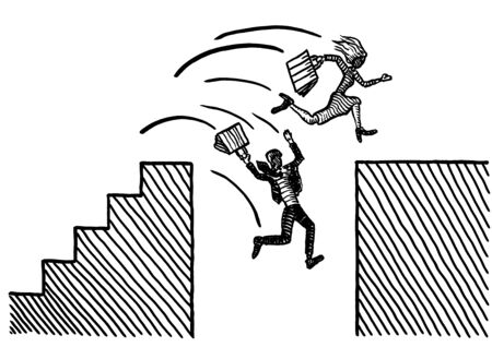 Freehand pen drawing of business woman leaping across ravine. Male rival is falling into abyss. Metaphor for emancipation, gender equality, battle of sexes, career rivalry, risk, entrepreneurship. Foto de archivo - 133741728