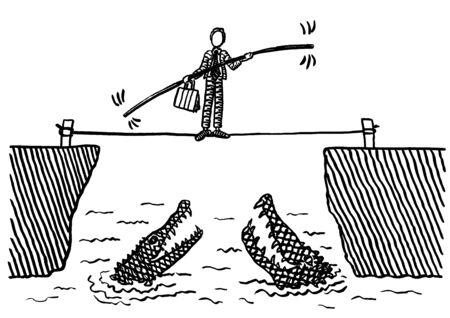 Freehand pen drawing of business man balancing across thin rope stretched over a ravine filled with water and alligators. Concept for entrepreneurship, problem solving, risk taking, therapy, courage.