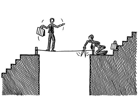 Freehand pen drawing of business man intent on cutting the rope on which a competitor is balancing across a chasm. Concept for betrayal, conflict, envy, cunning, ruse, trick, shrewdness, rivalry.