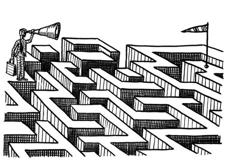 Freehand pen drawing of business man eying goal through telescope from the opposite end of a labyrinth. Metaphor for career direction, ambition, goal orientation, determination, solution, vision.