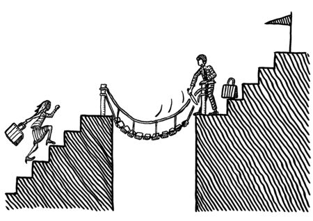 Freehand pen drawing of business man cutting ropes of hanging bridge to prevent businesswoman from catching up. Metaphor for gender discrimination, inequality, battle of the sexes, career, rivalry. Stockfoto - 133741732