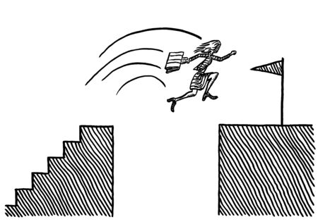 Freehand pen drawing of business woman jumping across abyss to reach goal. Metaphor for achievement, career success, emancipation,  entrepreneurship, entrepreneurship, courage, risk taking, winning.