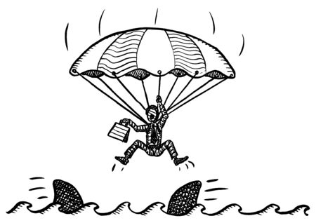 Freehand pen drawing of business man with open parachute just about to fall into the sea full of sharks. Metaphor for risk, crisis, failure, no escape, no way out, disaster, desperation, crash.