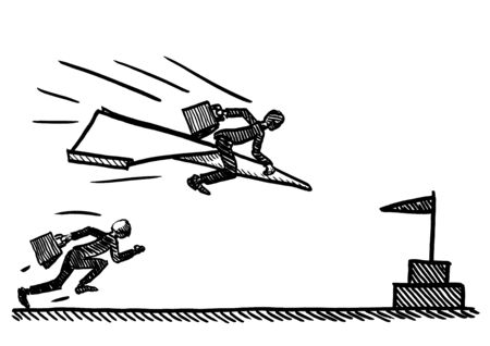 Freehand pen drawing of business man on paper air plane overtaking manager running towards goal. Metaphor for competition, career rivalry, entrepreneurship, corporate success, aspiration, ambition. Foto de archivo - 133741612