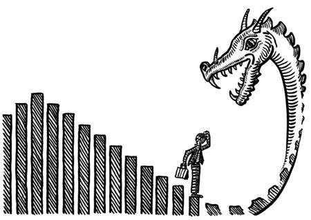 Freehand pen drawing of business man reaching the end of declining drawn growth bar chart unaware of a dragon ending. Metaphor for future financial crisis, recession, career challenge, job dismissal.