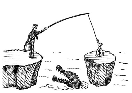 Freehand pen drawing of business man with fishing rod angling sack of dollars off a rock in crocodile invested river. Metaphor for intelligent solution, conquering adversity, skill, entrepreneurship. Reklamní fotografie