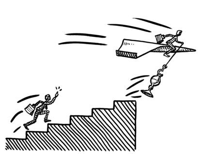 Freehand pen drawing of business man on paper airplane snatching up a prize trophy atop career stairs, while his rival complains. Metaphor for competition, rivalry, winner takes it all, advantage.