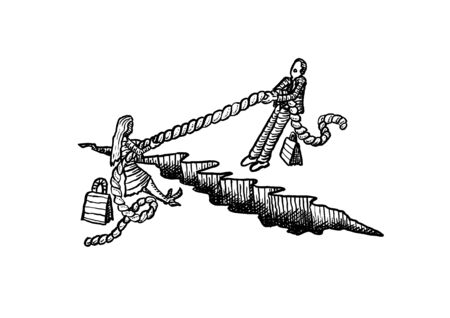 Freehand drawing of business woman and man rope pulling across a chasm. Metaphor for battle of the sexes, gender equality, equal career opportunity, emancipation, conflict, struggle, challenge.