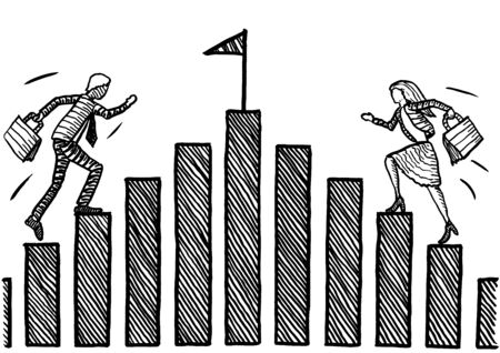 Freehand drawing of business woman and businessman racing up chart stairs towards the goal flag. Metaphor for gender conflict, competition, battle of sexes, equality, emancipation, talent.