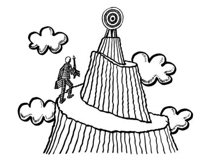 Freehand drawing of business man with arrow in hand approaching target on mountain summit in the clouds. Metaphor for mission, aspiration, entrepreneurship, challenge, determination, endurance. Banco de Imagens