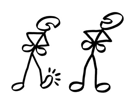 Drawing of two angry stick men just about to start a strife. Metaphor for human emotion of scorn, conflict, dispute, quarrel, clash, provocation, threat, argument, derision, ridicule, sneer, mockery. Stock Photo