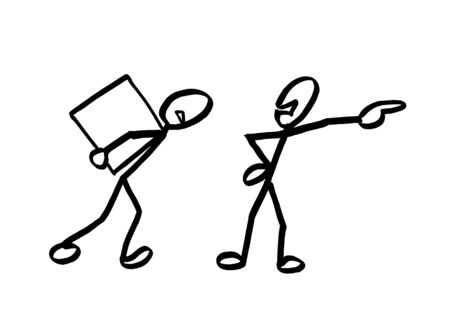 Drawing of one stick man commandeering and showing direction to another matchstick man carrying a heavy box on his back. Metaphor for power relation between manager and blue-collar hand workman.