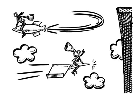 Freehand drawing of business man on rocket making a U-turn to avoid crashing into rock, while his rival on paper airplane is flying on. Metaphor for market leadership, leader, swim against the tide.