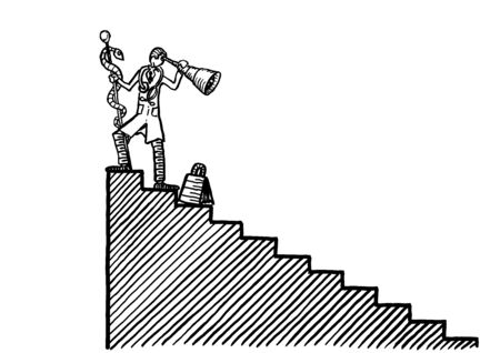 Drawing of medical doctor with Aesculapian staff and telescope in hand looking back down a staircase. Metaphor for hindsight in science and medicine, scientific achievement, professional career.