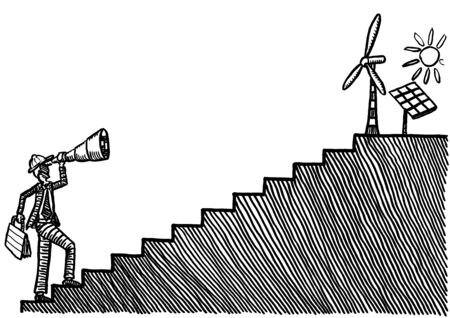 Drawing of male engineer at bottom of stairs looking at wind power and solar energy at top of staircase. Metaphor for renewable energy investment, sustainable development, electric power investment.