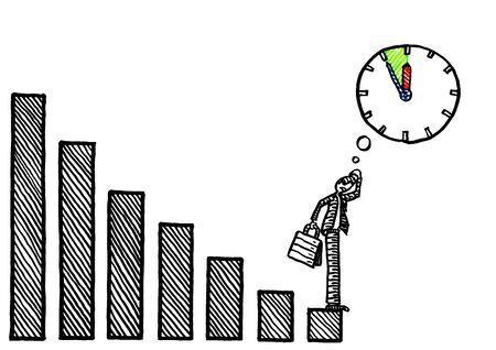 Freehand drawing of business man at the bottom end of negative growth graph pondering five to twelve situation. Metaphor for  economic crisis, financial decline, negative growth, bankruptcy, losses.