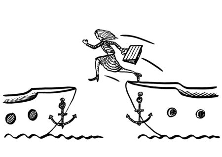 Freehand drawing of business woman jumping from one ship to another. Metaphor for career change, speedy job transition, human resources, recruitment, entrepreneurship, solution, strategy, crisis.