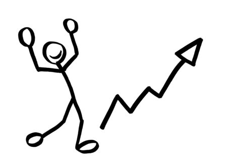 Drawing of stick man rejoicing with arms raised in jubilation next to steep growth arrow. Metaphor for financial success, career achievement, happiness, victory, win, exult, smile, bright future. Banco de Imagens