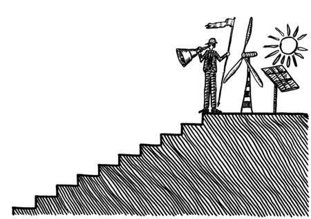 Drawing of male engineer at top of stairs looking back with hindsight from his investment in renewable energy. Metaphor for solar and wind power generation, achievement in sustainable resources.