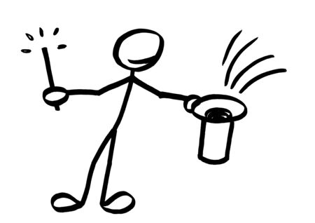 Drawing of stick man magician with magic wand in one hand offering a sight into upside down empty tophat. Metaphor for performing magic trick, conjurer, conjuring, entertainment, solution, illusion.