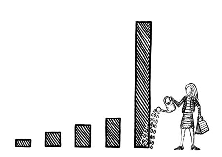 Freehand drawing of businesswoman watering tall bar in a growth chart with a watering pot. Metaphor for investment, economic growth, profit, income increase, financial success strategy.