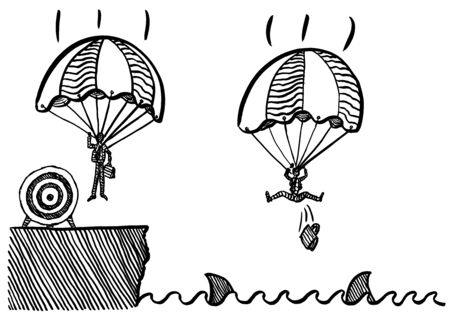 Freehand drawing of business man landing safely with parachute at target onshore, while his competitor is plunging in shark invested sea. Metaphor for competition, rivalry, achievement, targeting. Banco de Imagens