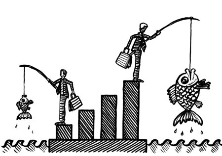 Freehand drawing of business man on peak of growth chart pulling in big fish and competitor catching only small fish. Metaphor for rivalry, competition, marketing strategy, profit, entrepreneurship. Reklamní fotografie