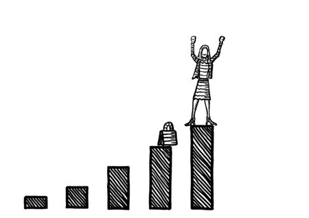 Freehand drawing of successful business woman raising arms in position of winner atop a growth chart. Cartoon illustration of leadership, career success, financial victory, economic achievement. Banco de Imagens