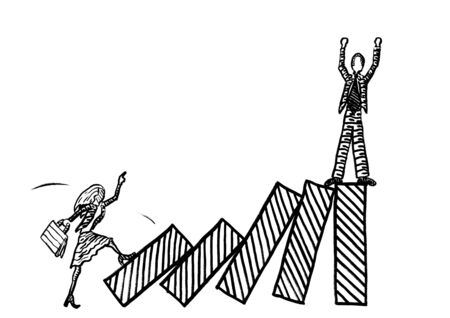Freehand drawing of business woman kicking over bars of growth chart to topple a male rival with a domino effect. Metaphor for rivalry, competition, envy, battle of sexes, emancipation, work dispute.