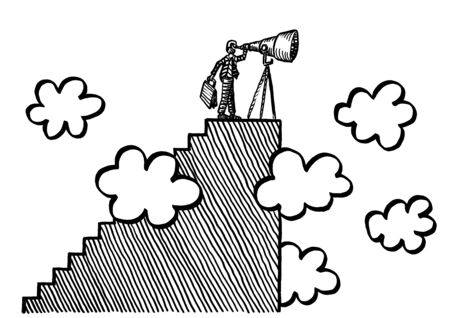 Freehand drawing of business man atop pinnacle of staircase in the clouds looking through telescope into the future. Metaphor for leadership, vision, mission, planning, forecasting, entrepreneurship.