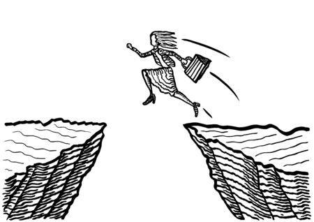 Freehand drawing of business woman taking a giant leap to jump across an abyss. Metaphor for courage, entrepreneurship, leadership, risk taking, career move, success, achievement, effort. Banco de Imagens